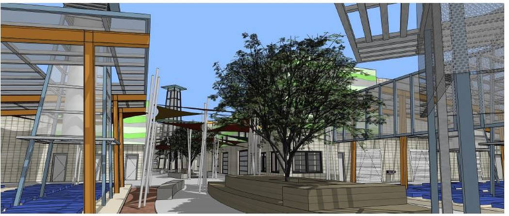 Newly released schematic designs show an early look at the Courtyard Homeless Resource Center by LGA Architects. (City of Las Vegas)