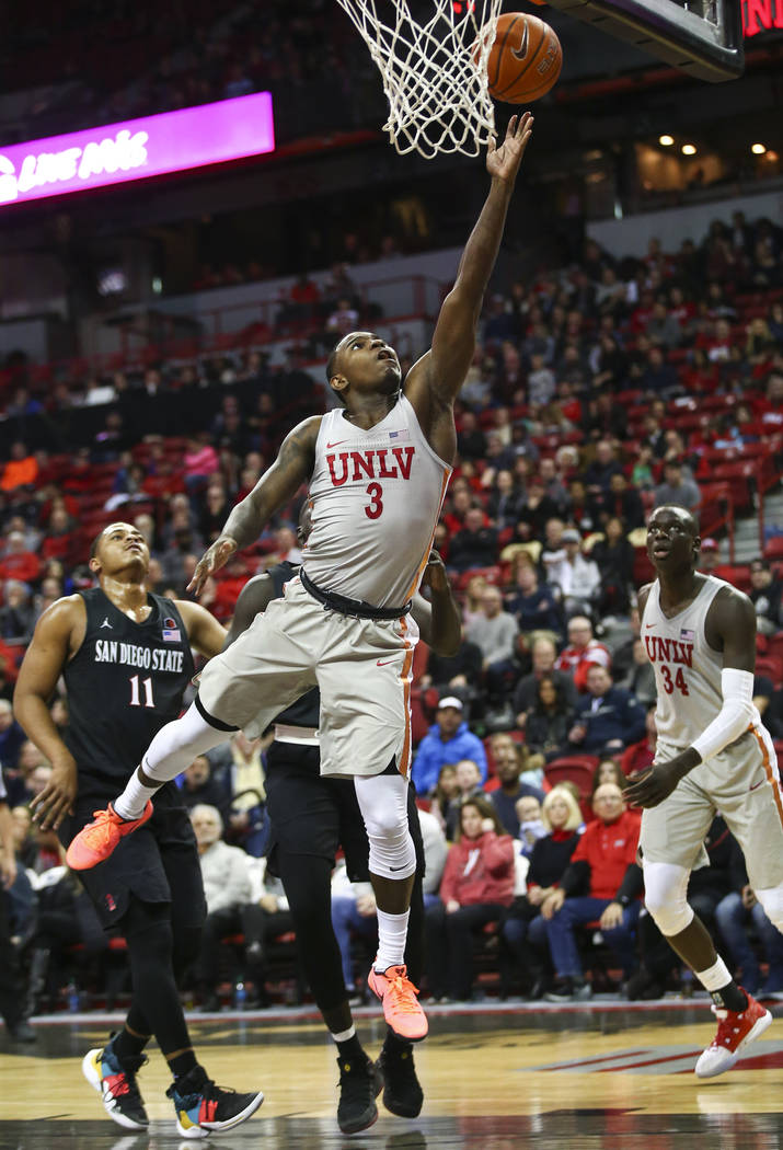 UNLV Rebels guard Amauri Hardy (3) goes to the basket against San Diego State during the second half of a basketball game at the Thomas & Mack Center in Las Vegas on Saturday, Feb. 23, 2019. ( ...
