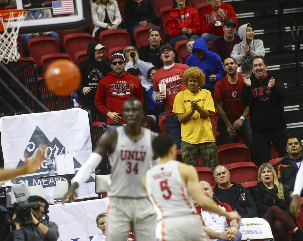 UNLV Rebels fans react during the second half of a basketball game against San Diego State at the Thomas & Mack Center in Las Vegas on Saturday, Feb. 23, 2019. (Chase Stevens/Las Vegas Review- ...