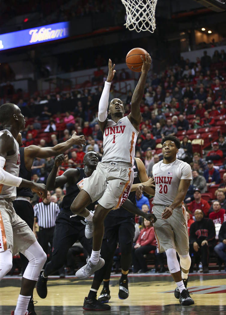 UNLV Rebels guard Kris Clyburn (1) goes to the basket against San Diego State during the second half of a basketball game at the Thomas & Mack Center in Las Vegas on Saturday, Feb. 23, 2019. ( ...
