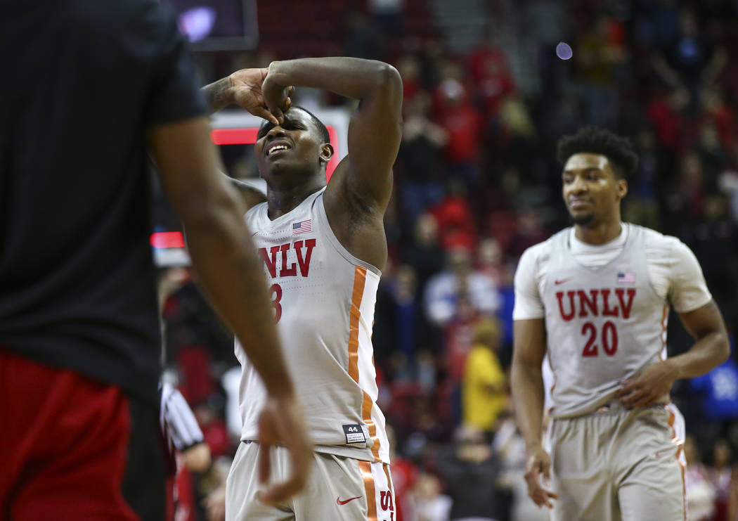 UNLV Rebels guard Amauri Hardy (3) reacts after losing 60-59 to San Diego State in a basketball game at the Thomas & Mack Center in Las Vegas on Saturday, Feb. 23, 2019. (Chase Stevens/Las Veg ...