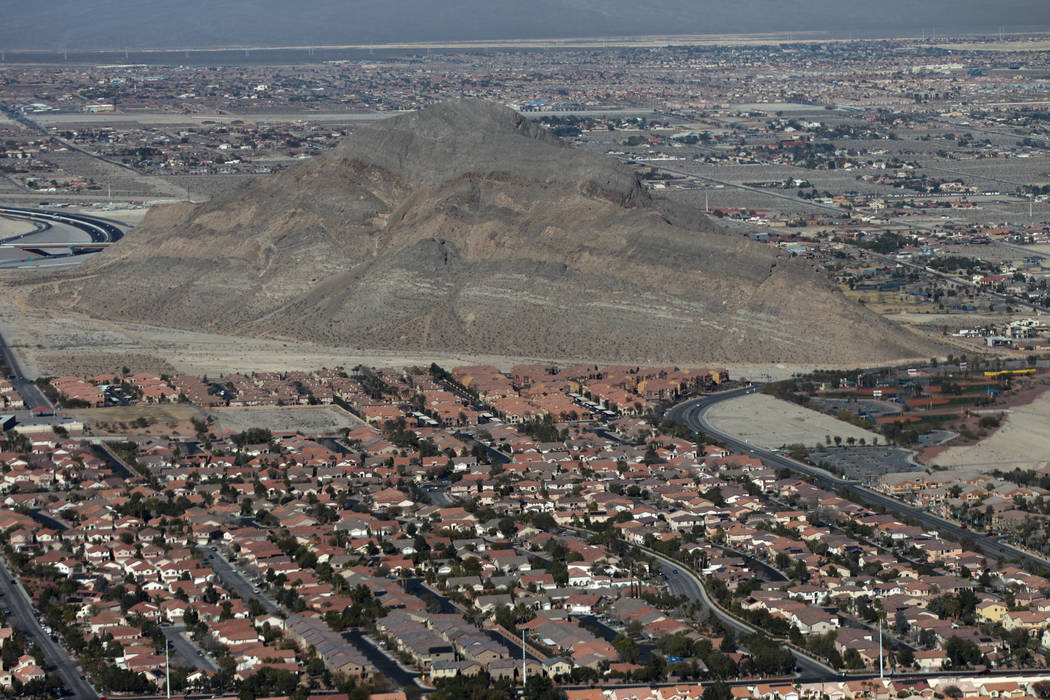 Lone Mountain in Las Vegas as viewed from an AirSign Airship blimp after taking off from the North Las Vegas Airport in North Las Vegas, Thursday, Feb. 7, 2019. The blimp was advertising the Carni ...