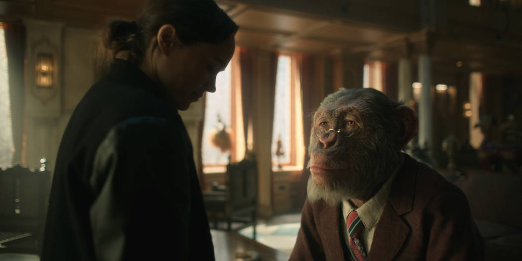 """Vanya (Ellen Page) and Pogo (voiced by Adam Godley) appear in a scene from """"The Umbrella Academy."""" (Netflix)"""