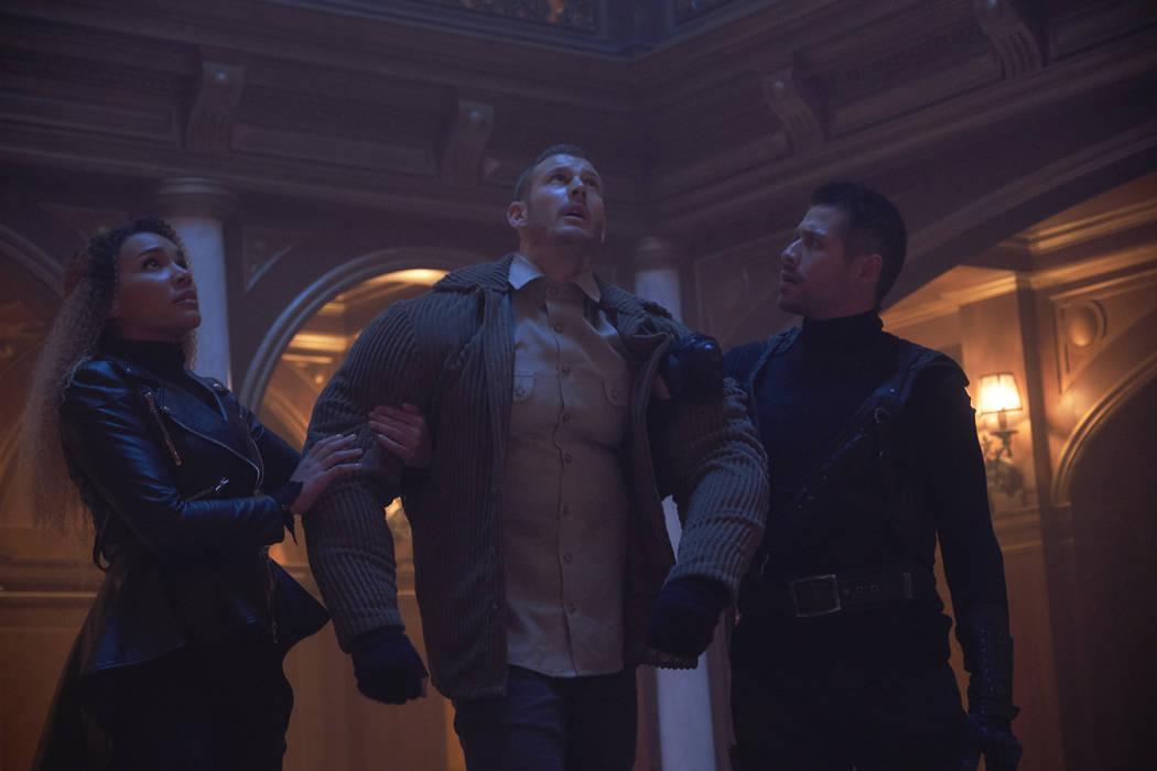 "From left, Emmy Raver-Lampman, Tom Hopper and David Castaneda star in ""The Umbrella Academy."" (Christos Kalohoridis/Netflix)"