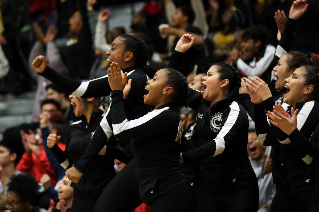 Clark's dance team cheers after a basket is made during a basketball game at Clark High School in Las Vegas, Thursday, Feb. 7, 2019. Caroline Brehman/Las Vegas Review-Journal