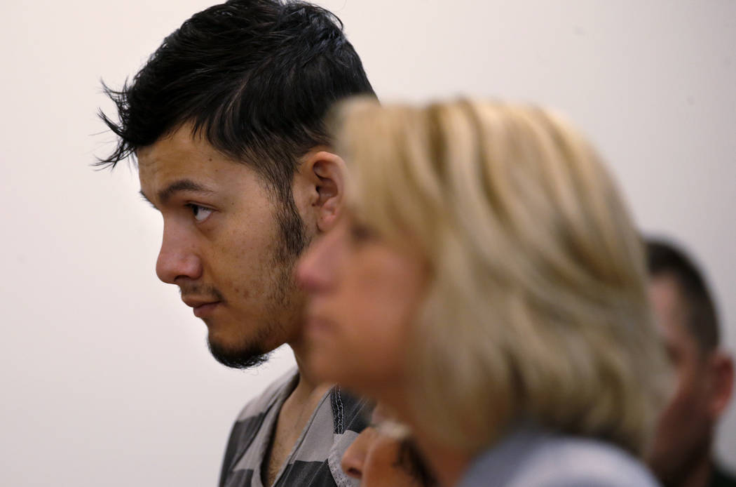 Suspected murderer Wilber Martinez-Guzman appears in Carson City Justice Court, in Carson City, Nev., on Friday, Feb. 8, 2019. Martinez-Guzman is expected to be transferred to Washoe County next w ...