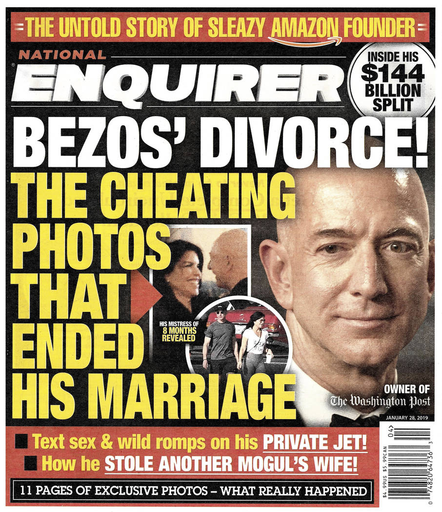This image shows the front page of the Jan. 28, 2019, edition of the National Enquirer featuring a story about Amazon founder and CEO Jeff Bezos' divorce. (National Enquirer via AP)