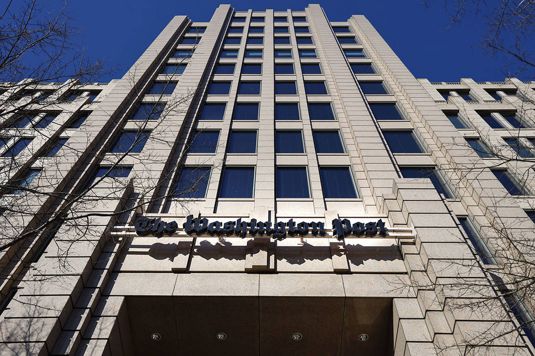 The One Franklin Square Building, home of The Washington Post, in downtown Washington, Friday, Feb. 8, 2019. (AP Photo/Pablo Martinez Monsivais)