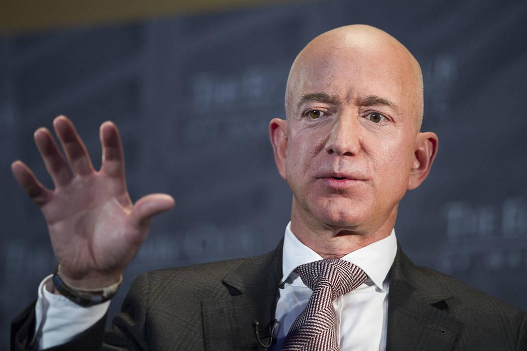 Jeff Bezos, Amazon founder and CEO, speaks at The Economic Club of Washington's Milestone Celebration in Washington in September 2018. (AP Photo/Cliff Owen, File)