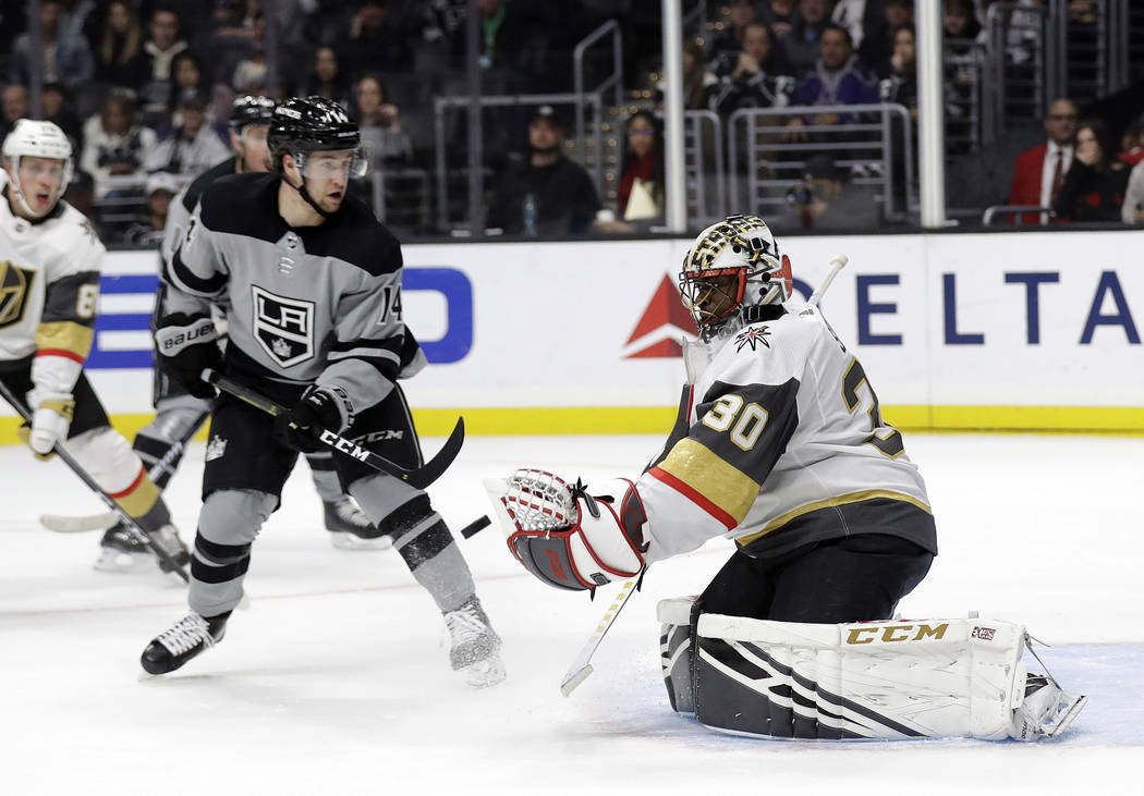 Vegas Golden Knights goaltender Malcolm Subban (30) stops a shot against the Los Angeles Kings during the second period of an NHL hockey game Saturday, Dec. 29, 2018, in Los Angeles. (AP Photo/Mar ...