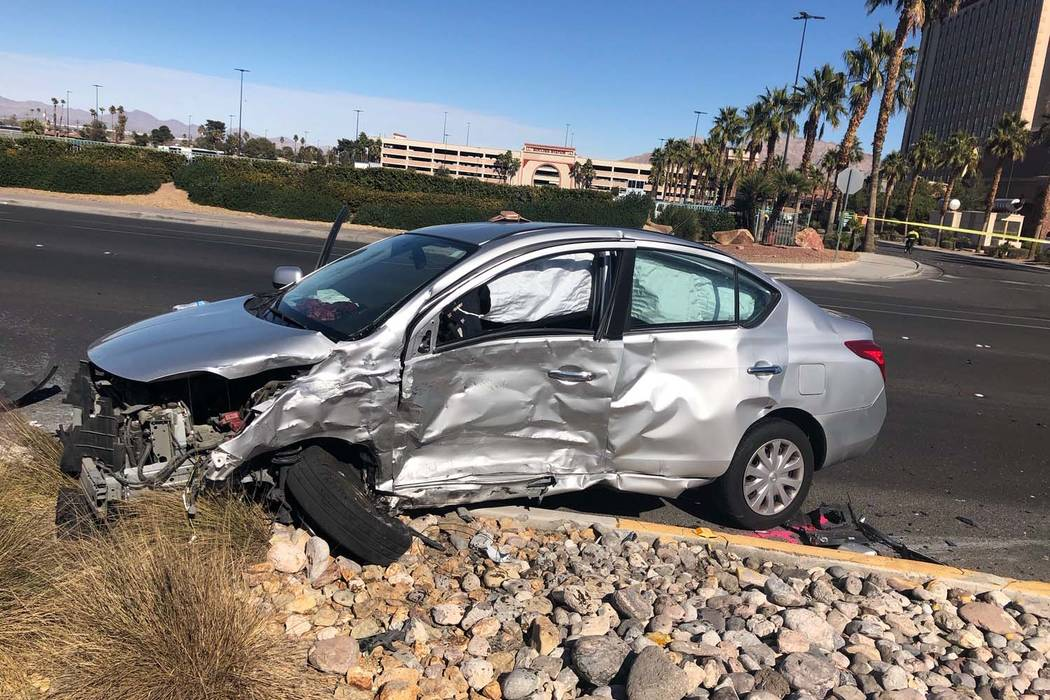 One person died after a two-car crash on Boulder Highway just north of the U.S. Highway 95 on Friday, Feb. 8, 2019. (Nevada Highway Patrol)