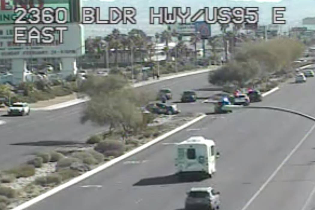 A crash involving multiple vehicles Friday morning shut down northbound lanes of Boulder Highway in east Las Vegas, police said. (NDOT Traffic Cam)