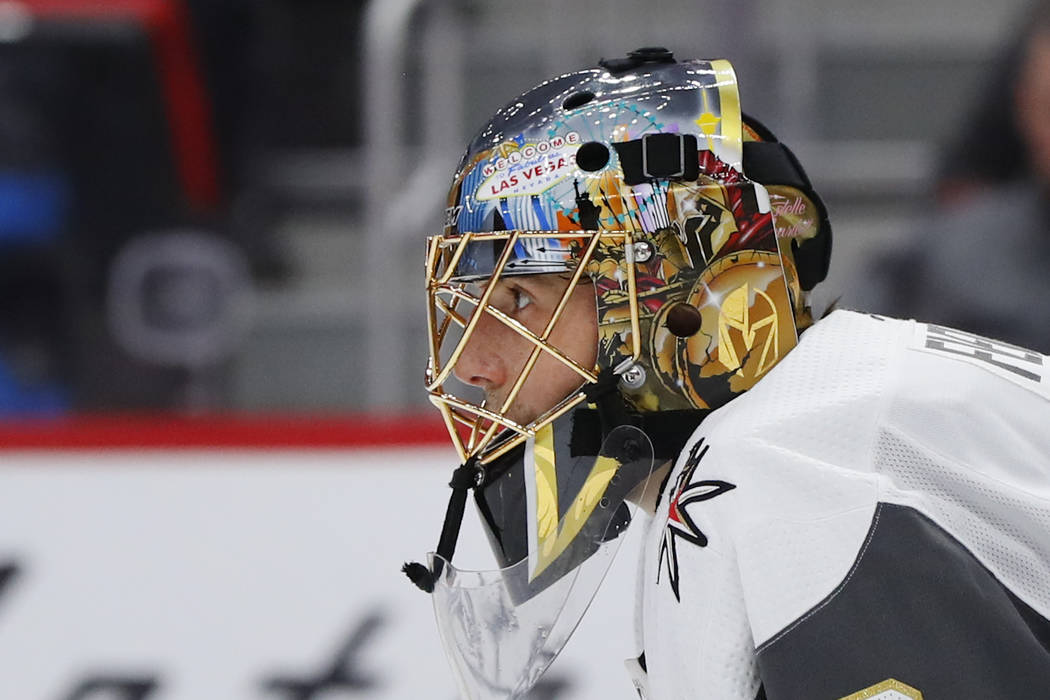 Vegas Golden Knights goaltender Marc-Andre Fleury (29) plays against the Detroit Red Wings in the second period of an NHL hockey game Thursday, Feb. 7, 2019, in Detroit. (AP Photo/Paul Sancya)