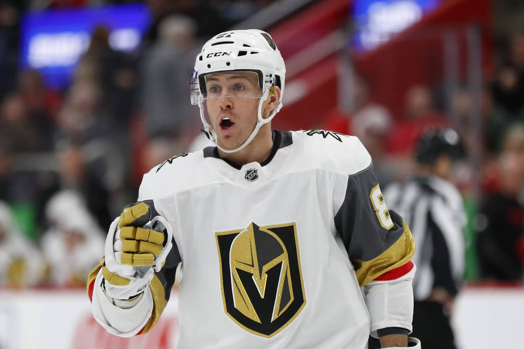 Vegas Golden Knights center Jonathan Marchessault plays against the Detroit Red Wings in the third period of an NHL hockey game Thursday, Feb. 7, 2019, in Detroit. (AP Photo/Paul Sancya)