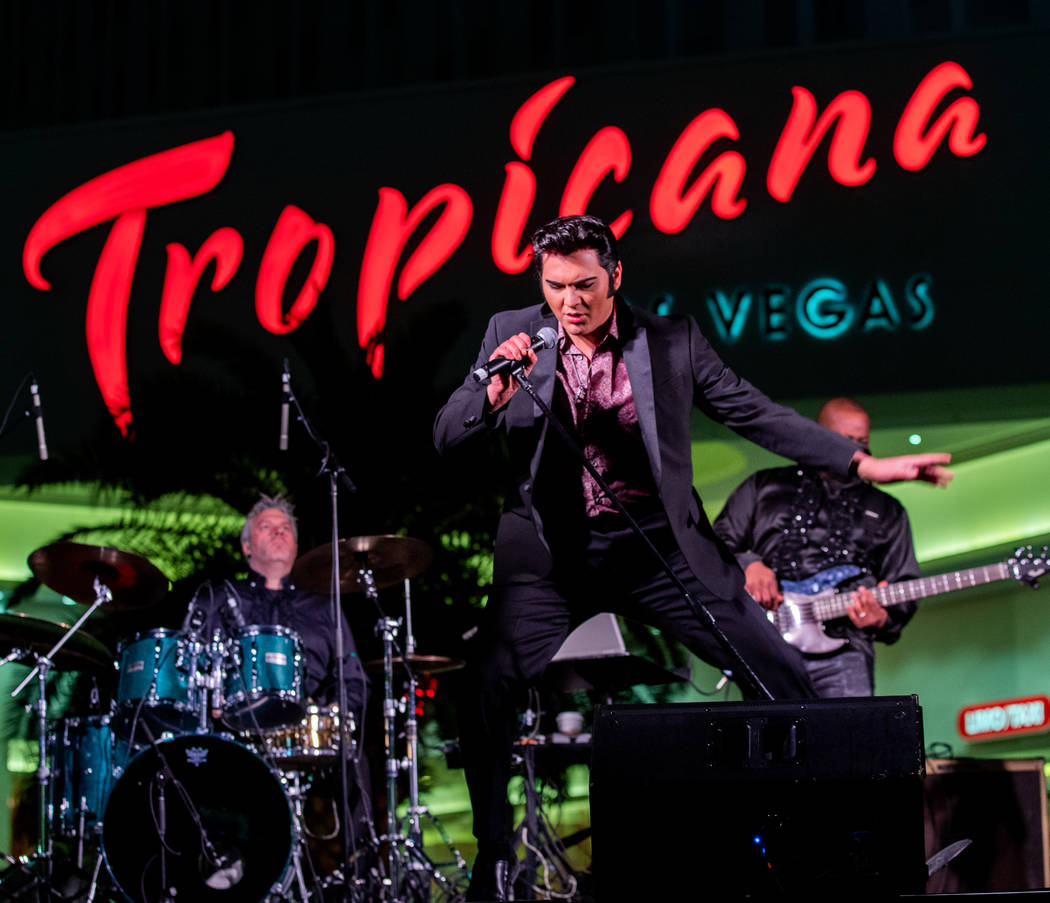 """Cody Slaughter performs as Elvis during a preview of """"Legends In Concert,"""" which opens at Tropicana Las Vegas on Monday night. (Erik Kabik Photography)"""