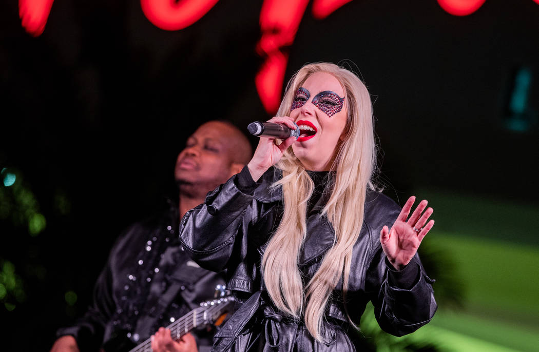 """Tierney Allen performs as Lady Gaga during a preview of """"Legends In Concert,"""" which opens at Tropicana Las Vegas on Monday night. (Erik Kabik Photography)"""
