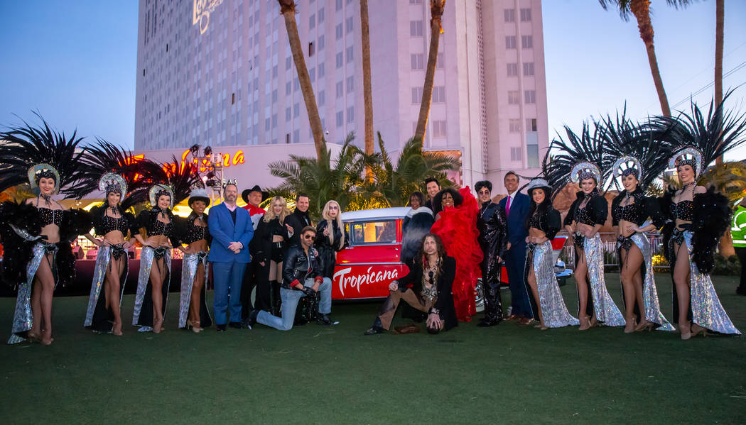"""A full cast shot -- with showgirls -- of """"Legends In Concert,"""" which opens at Tropicana Las Vegas on Monday night. (Erik Kabik Photography)"""
