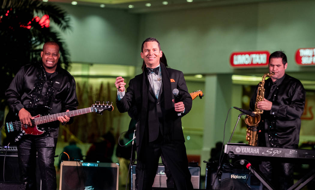 """Brian Duprey performs as Frank Sinatra during a preview of """"Legends In Concert,"""" which opens at Tropicana Las Vegas on Monday night. (Erik Kabik Photography)"""