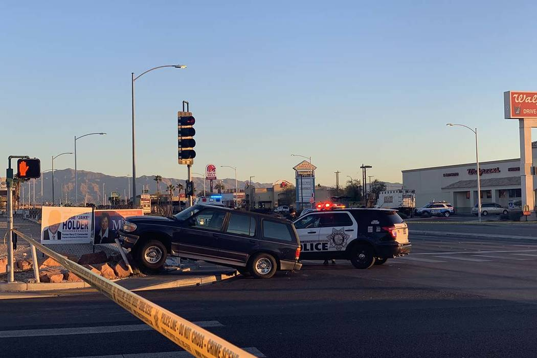 A pedestrian died after a crash at Alta Drive and South Decatur Boulevard on Thursday, Feb. 7, 2019. (Jessica Terrones/Las Vegas Review Journal)