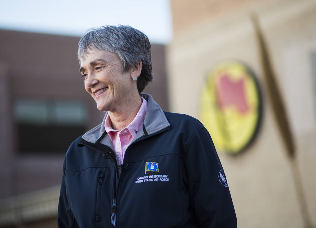 Secretary of the Air Force Heather Wilson speaks with news media during her visit to Nellis Air Force Base in Las Vegas on Friday, Feb. 8, 2019. (Chase Stevens/Las Vegas Review-Journal) @csstevens ...