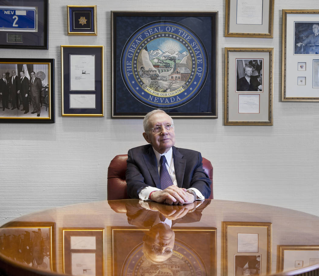 Former Sen. Harry Reid, D-Nev.,at his office in Bellagio on Friday, Feb. 8, 2019, in Las Vegas. Reid served as a Senator from 1987 to 2017, and was leader of the Democratic Caucus and Senate major ...