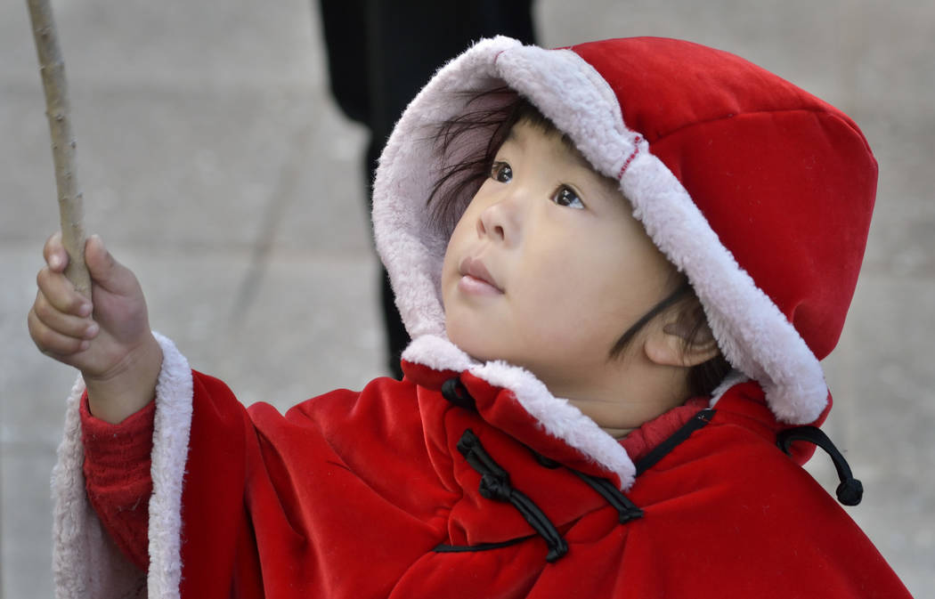 Irene Chen, 3, is shown during Chinese New Year celebrations at the Downtown Container Park at 707 Fremont St. in Las Vegas on Saturday, Feb. 9, 2019. (Bill Hughes/Las Vegas Review-Journal)