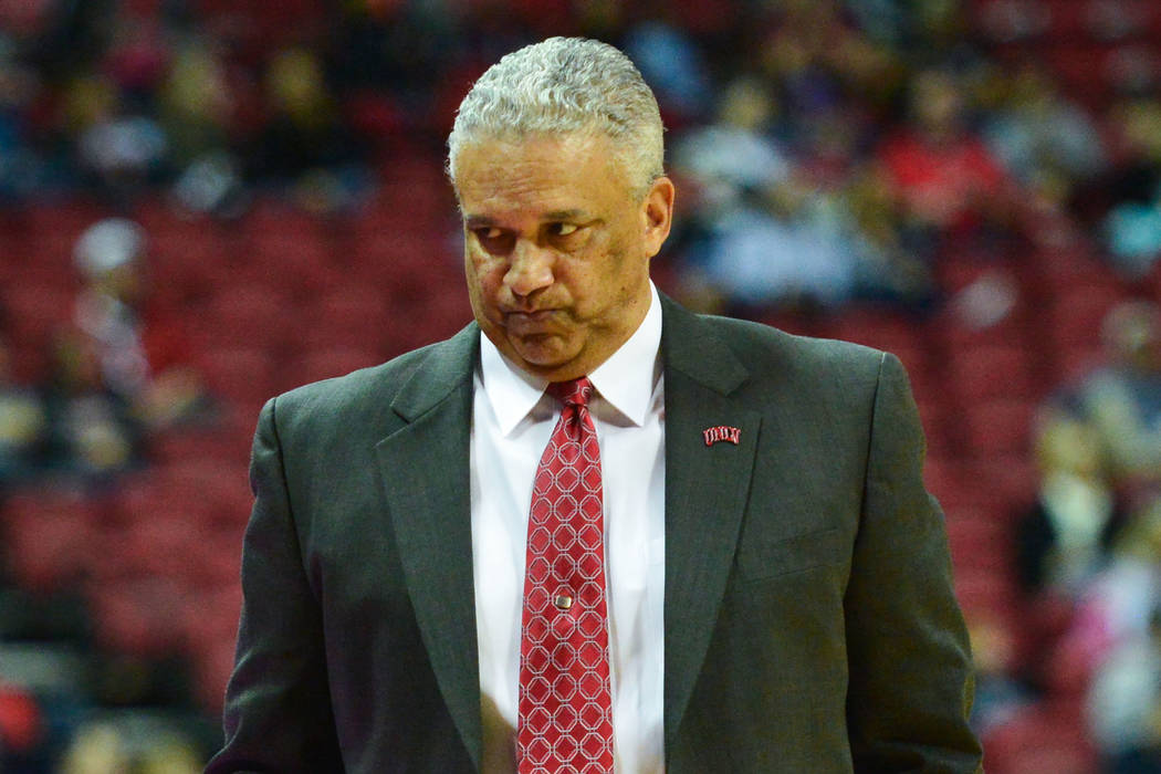 UNLV Rebels head coach Marvin Menzies reacts to a play during the second half of a game between UNLV and Fresno State at the Thomas & Mack Center in Las Vegas, on Saturday, Feb. 9, 2019. Fresn ...