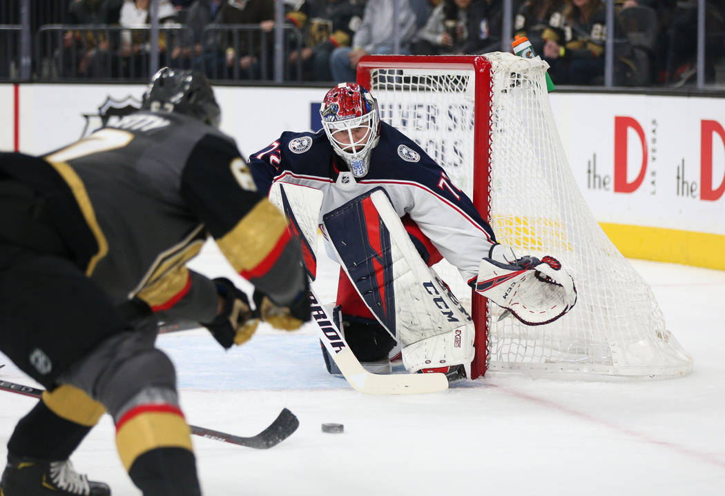 Vegas Golden Knights left wing Max Pacioretty (67) takes a shot against Columbus Blue Jackets goaltender Sergei Bobrovsky (72) during the first period of an NHL hockey game at T-Mobile Arena in La ...