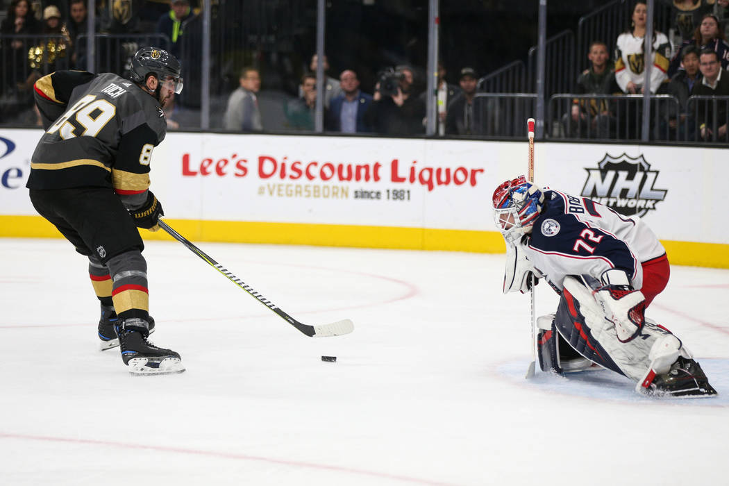 Vegas Golden Knights right wing Alex Tuch (89) prepares to take a shot Columbus Blue Jackets goaltender Sergei Bobrovsky (72) during the first period of an NHL hockey game at T-Mobile Arena in Las ...
