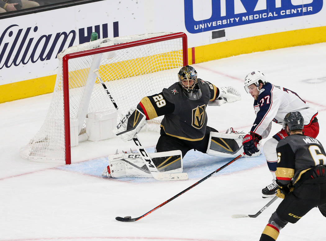 Columbus Blue Jackets defenseman Ryan Murray (27) goes to take a shot against Vegas Golden Knights goaltender Marc-Andre Fleury (29) during the second period of an NHL hockey game at T-Mobile Aren ...