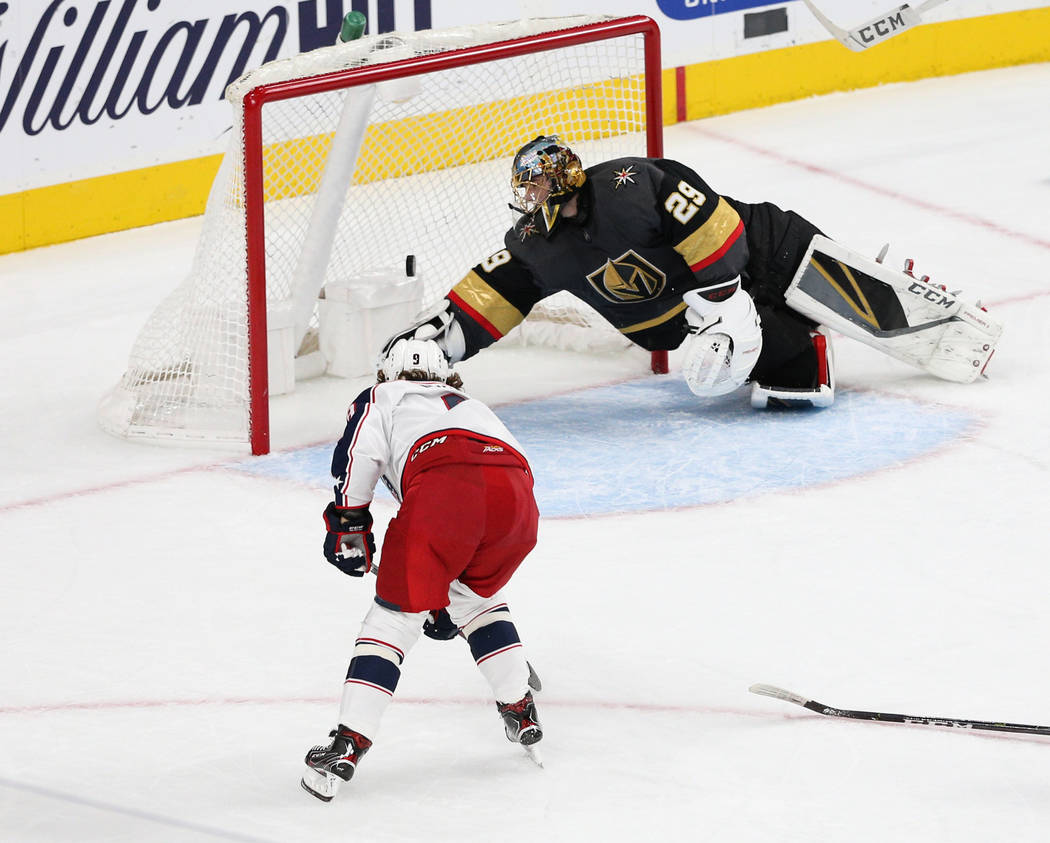 Columbus Blue Jackets left wing Artemi Panarin (9) scores against Vegas Golden Knights goaltender Marc-Andre Fleury (29) during the second period of an NHL hockey game at T-Mobile Arena in Las Veg ...