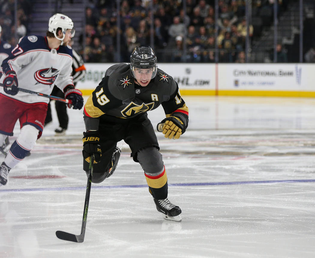 Vegas Golden Knights right wing Reilly Smith (19) moves down the ice during the third period of an NHL hockey game at T-Mobile Arena in Las Vegas, Saturday, Feb. 9, 2019. Caroline Brehman/Las Vega ...