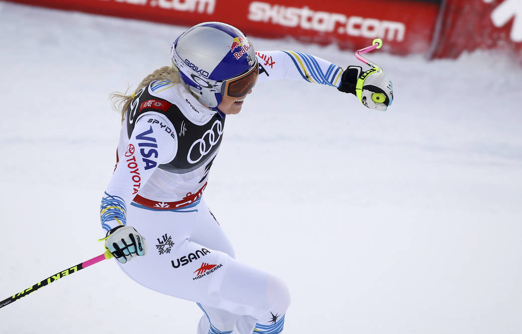 United States' Lindsey Vonn smiles in the finish area after the women's downhill race, at the alpine ski World Championships in Are, Sweden, Sunday, Feb. 10, 2019. (AP Photo/Marco Trovati)