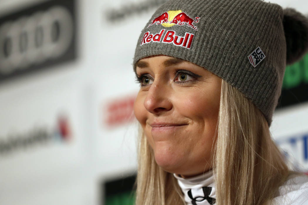United States' Lindsey Vonn holds a press conference after taking the bronze medal in the women's downhill race, at the alpine ski World Championships in Are, Sweden, Sunday, Feb. 10, 2019. (AP Ph ...
