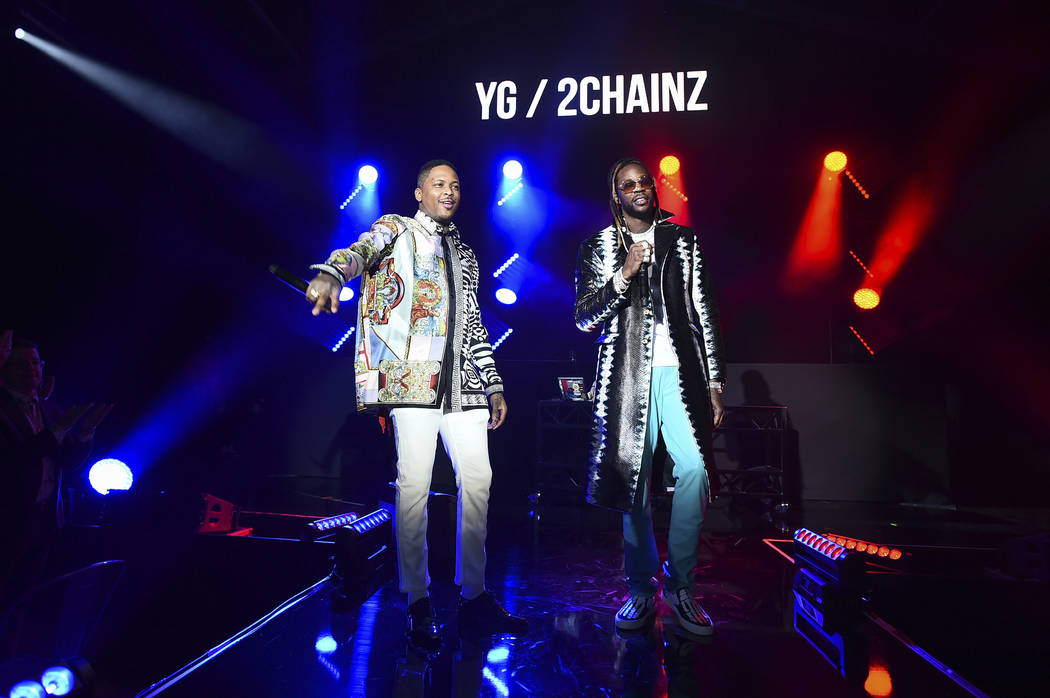 In this photo provided by Universal Music Group, YG, left, and 2 Chainz perform at Sir Lucian Grainge's 2019 Artist Showcase Presented by Citi on Saturday, Feb. 9, 2019 in Los Angeles. Universal M ...