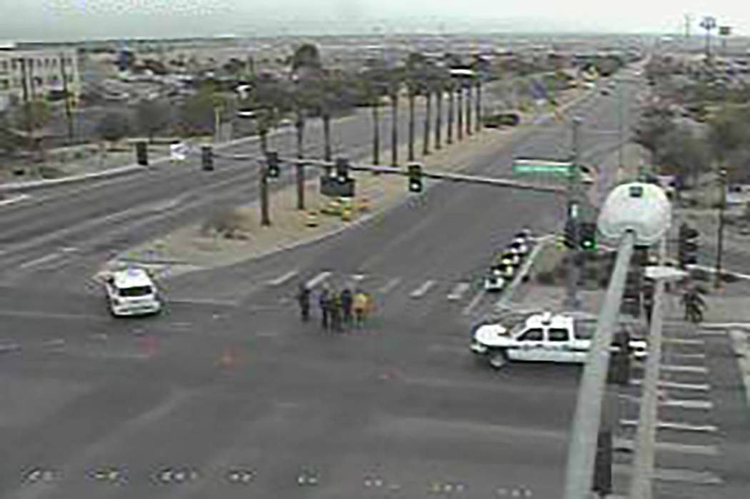Multiple pedestrians were hospitalized after they were hit by a vehicle Sunday afternoon in the southeast valley, according to Henderson police. (RTC traffic cam)