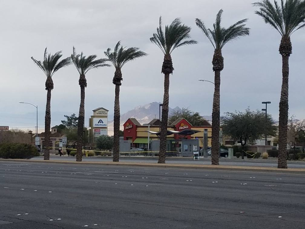 Henderson police investigate a crash on Sunday, Feb. 10, 2019, near Lake Mead Parkway and Boulder Highway. Multiple people were hospitalized after being hit by a vehicle near the intersection. (Mi ...