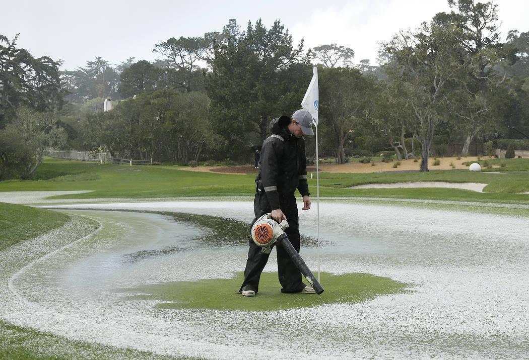 Pebble Beach's final round delayed by hail, rain
