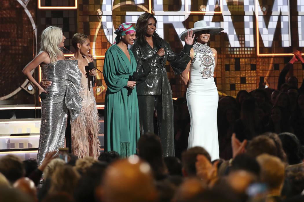 Lady Gaga, from left, Jada Pinkett Smith, Alicia Keys, Michelle Obama and Jennifer Lopez speak at the 61st annual Grammy Awards on Sunday, Feb. 10, 2019, in Los Angeles. (Photo by Matt Sayles/Invi ...