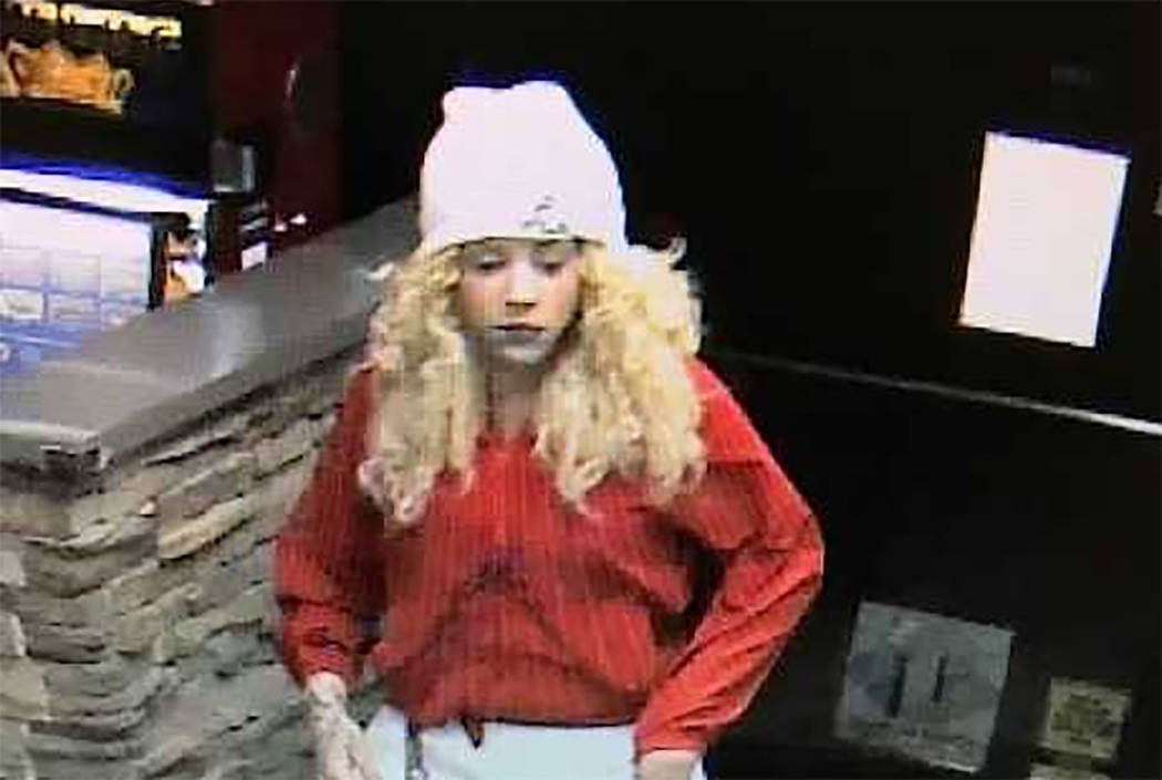 Las Vegas police say this woman was involved in a recent robbery at a business in the 4800 block of West Tropicana Avenue. (Metropolitan Police Department)