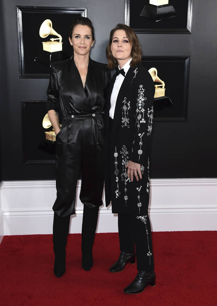 Catherine Shepherd, left, and Brandi Carlile arrive at the 61st annual Grammy Awards at the Staples Center on Sunday, Feb. 10, 2019, in Los Angeles. (Photo by Jordan Strauss/Invision/AP)