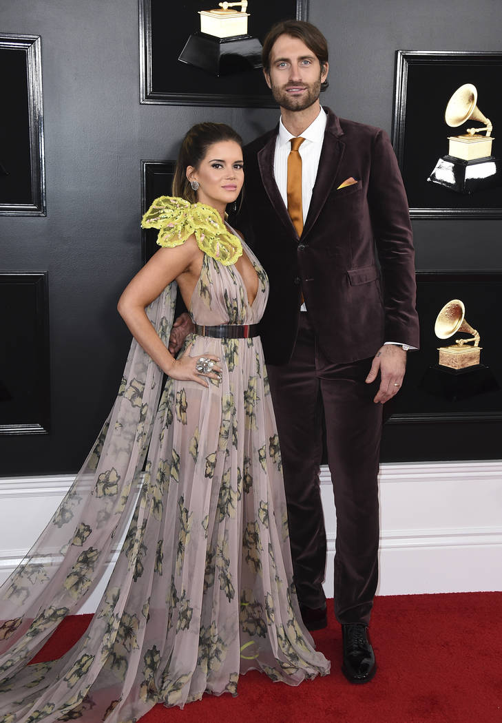 Maren Morris, left, and Ryan Hurd arrive at the 61st annual Grammy Awards at the Staples Center on Sunday, Feb. 10, 2019, in Los Angeles. (Photo by Jordan Strauss/Invision/AP)