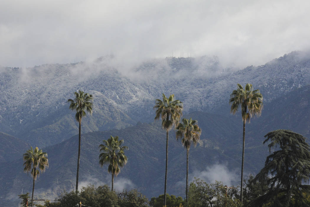 Fresh snow coats Mount Wilson above Pasadena, Calif., on Saturday, Feb. 9, 2019, after the latest in a series of storms that have given California a very wet winter. The National Weather Service s ...
