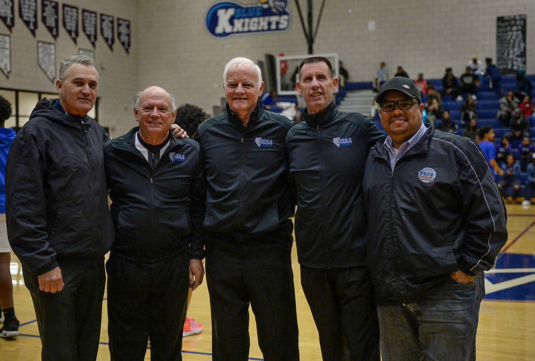 Basketball official Neil Gallant poses with fellow officials during a game at Democracy Prep at Agassi Academy Campus in Las Vegas, Monday, Feb. 11, 2019. Caroline Brehman/Las Vegas Review-Journal