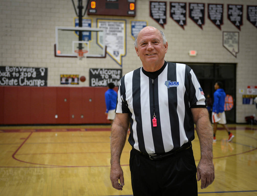 Basketball official Neil Gallant poses for a portrait before a game at Democracy Prep at Agassi Academy Campus in Las Vegas, Monday, Feb. 11, 2019. Caroline Brehman/Las Vegas Review-Journal