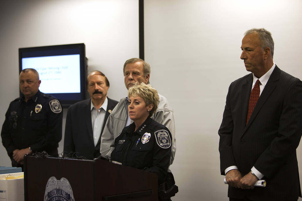 North Las Vegas Police Department Chief Pamela Ojeda, flanked by former North Las Vegas detective Bob King, left, and District Attorney Steve Wolfson, right, discusses new discoveries in the case ...