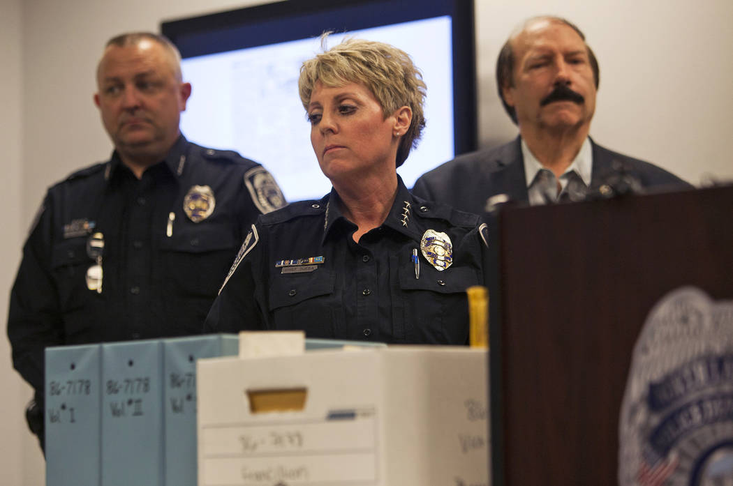 North Las Vegas Police Department Chief Pamela Ojeda at a press conference to discuss new discoveries in the case of the disappearance of the 3-year-old Francillon Pierre, who vanished in 1986, at ...