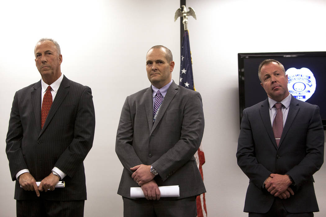 District Attorney Steve Wolfson, from left, Detective Steven Wiese, and Detective Sean Sprague, at the North Las Vegas Detective Bureau in North Las Vegas, Monday, Feb. 11, 2019. Officials gathere ...