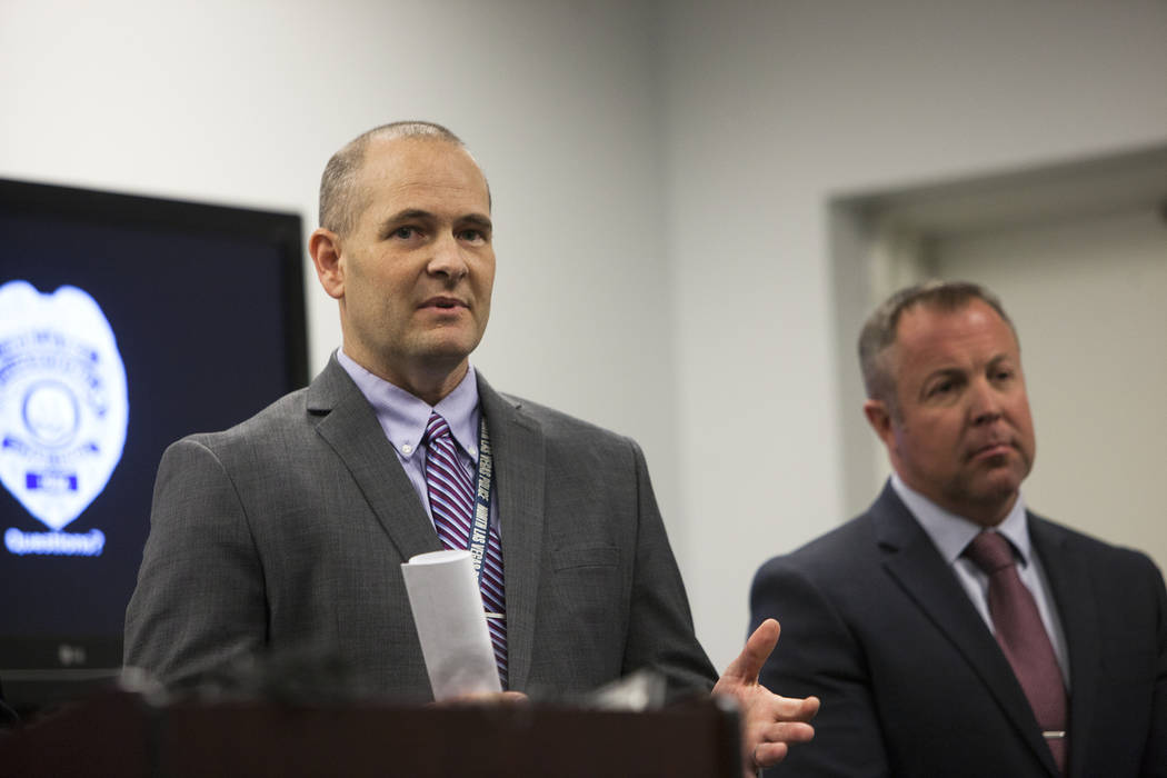 Detective Steven Wiese answers a question from the media next to Detective Sean Sprague at the North Las Vegas Detective Bureau in North Las Vegas, Monday, Feb. 11, 2019. Officials gathered to dis ...