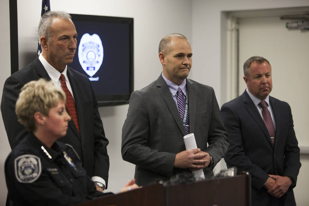 North Las Vegas Police Department Chief Pamela Ojeda, from left, District Attorney Steve Wolfson, Detective Steven Wiese, and Detective Sean Sprague discuss new discoveries in the case of the disa ...